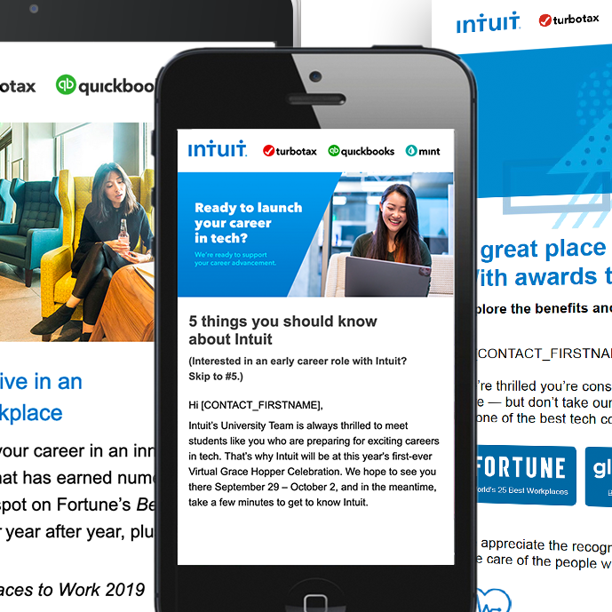 Email campaigns to recruit new talent at Intuit