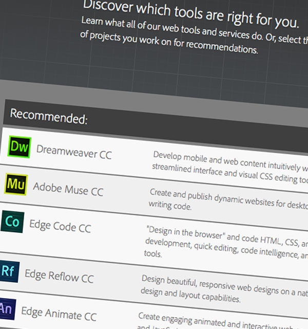 Adobe Web Tools Selector