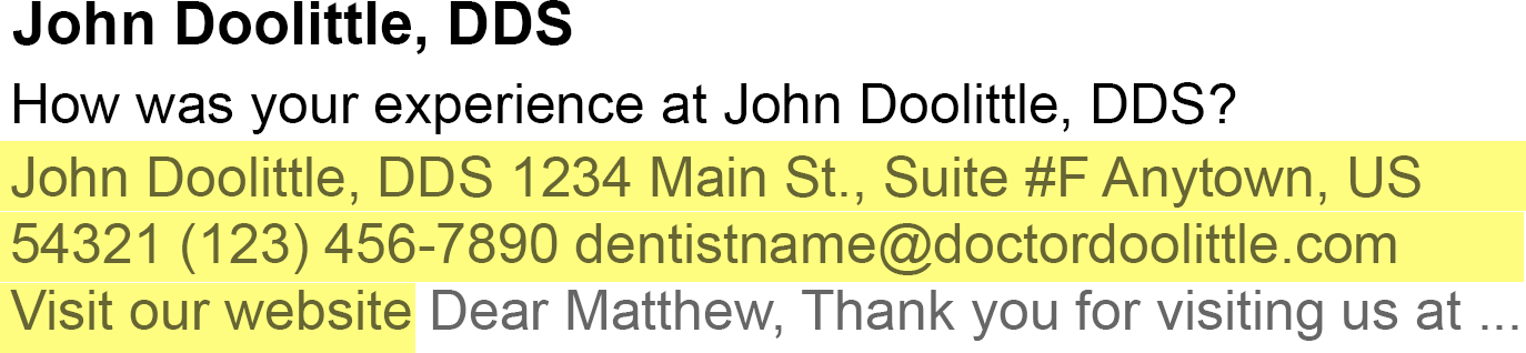 Email preview text address