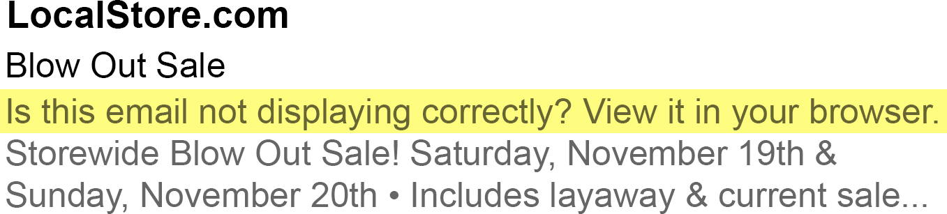 Email preview text view online