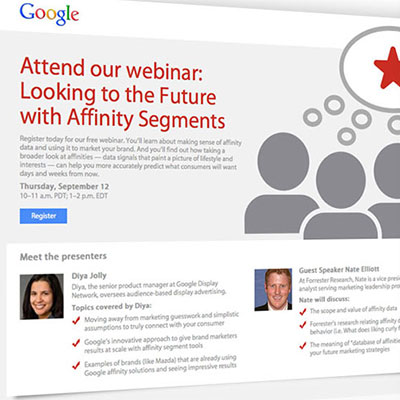 Google webinar emails and landing pages