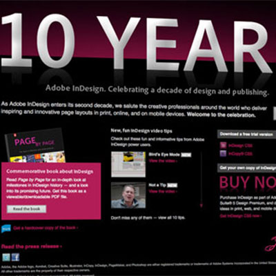 InDesign 10th Anniversary Microsite
